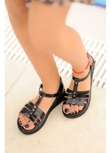 Pembe Potin A307-20 Kadın sandalet Siyah